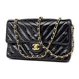 Chanel Classic Flap Chevron Quilted Medium 232106 Black Patent Leather Shoulder Bag