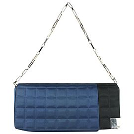 Chanel Blue x Black Satin Chocolate Bar East West Flap Bag 35cas722