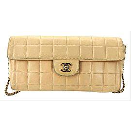 Chanel Classic Flap East West Chocolate Bar Ccfi13 176737 Beige Lambskin Shoulder Bag