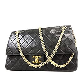 Chanel Mademoiselle Classic Flap Medium Quilted Lambskin 234110 Black Leather Shoulder Bag