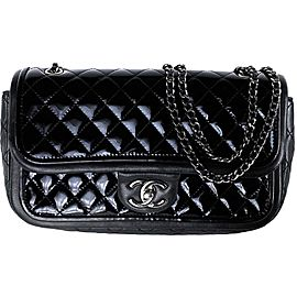 Chanel Classic Flap Medium Lambskin Mini Quilted 18ca530 Black Patent Leather Cross Body Bag