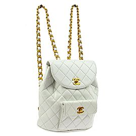 Chanel White Quilted Lambskin Duma Backpack Gold Chain Classic Flap 85cas71