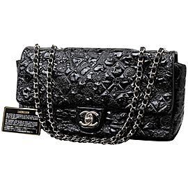 Chanel Classic Flap Quilted Embossed 235516 Black Patent Leather Shoulder Bag