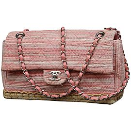 Chanel Classic Flap Quilted Espadrille Medium 233088 Pink Tweed Cross Body Bag