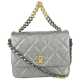 Chanel Silver Quilted Side Logo CC Mini Classic Flap Two-Tone Chain 818ca63