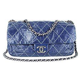 Chanel Classic Flap Quilted Surpique 219133 Navy Blue Leather Shoulder Bag