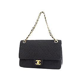 Chanel Classic Flap Small Quilted 234948 Black Cotton X Lambskin Shoulder Bag