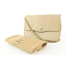 Chanel Beige Diagonal Quilted Lambskin Flap Chain Bag 949cas416