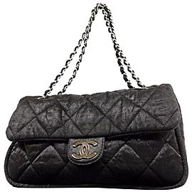 Chanel Classic Quilted Jumbo Chain Flap 232847 Black Nylon Shoulder Bag