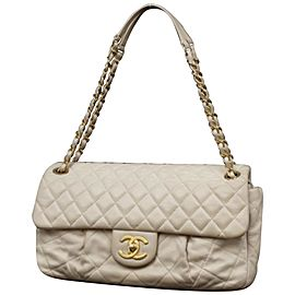 Chanel Classic Quilted Light Quilted Jumbo Flap 234109 Beige Leather Shoulder Bag