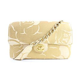 Chanel Classic Woven Camellia Medium Flap 5cr0417 Natural X Gold Raffia Straw Shoulder Bag