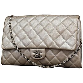Chanel Classic Flap Clutch Quilted Jumbo Chain 231197 Silver Leather Shoulder Bag