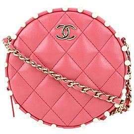 Chanel Dark Rose Pink Quilted Lambskin Round Clutch Chain Crossbody 123c728
