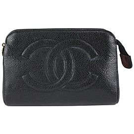 Chanel Timeless Black Caviar CC Logo Cosmetic Pouch Toiletry Case 827ca11