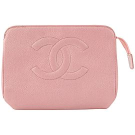 Chanel Pink Caviar Leather Cosmetic Pouch Toiletry Bag 18C712