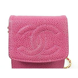 Chanel Crossbody Mobile Chain Flap 239581 Pink Caviar Leather Wristlet
