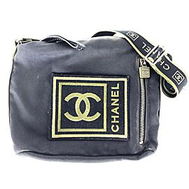 Chanel Crossbody Sports Logo Cc Patch Khaki 3c613 Black Nylon Messenger Bag