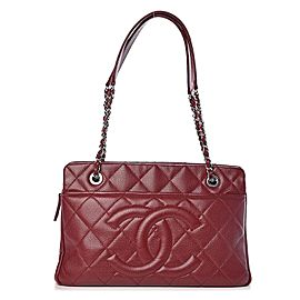 Chanel Dark Burgundy Timeless Shopper 20ck1220 Red Soft Caviar Leather Tote