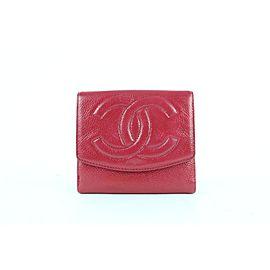 Chanel Dark Fuchsia Caviar Cc Logo Purse 21cz0911 Pink Leather Clutch