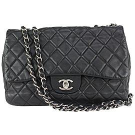 Chanel Black Quilted Lambskin Jumbo Classic Flap Silver 169cas712