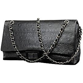 Chanel Double Flap Extra Large Maxi Classic 224657 Black Embossed Leather Shoulder Bag
