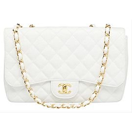 Chanel Quilted White Caviar Jumbo Classic Double Flap Gold Chain 65cas723