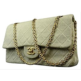 Chanel Double Flap Quilted Grey Classic 215748 Grey-cream Cotton Shoulder Bag