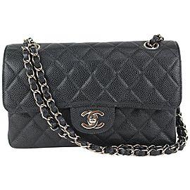 Chanel SHW Black x Silver Caviar Leather Small Classic Double Flap 914ca56