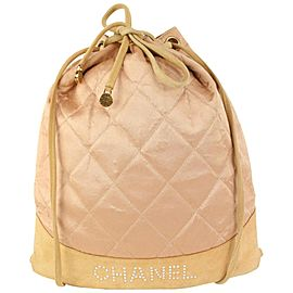 Chanel Pink Quilted Satin Crystal Logo Drawstring Backpack 830cas21