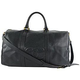 Chanel Timeless Black Caviar Leather CC Boston Duffle Bag with Strap 6cc62