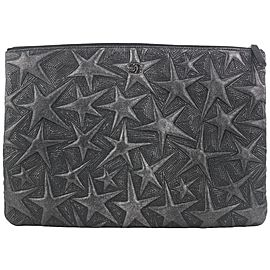 Chanel Black Embossed Lambskin Star O-Case Clutch Bag 761cas330