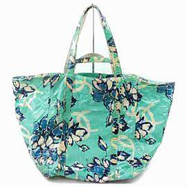 Chanel Floral Shopper 2way 872907 Green X Blue Vinyl Tote