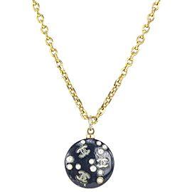 Chanel 05P Black Gold CC Pearl Necklace 99cas727