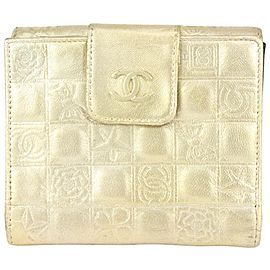 Chanel Gold Quilted Lambskin Charm Compact Wallet 29cas722