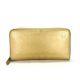 Chanel Gold Long Zip Around 216163 Wallet