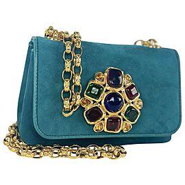 Chanel Gripoix Stone Mini Chain Flap 7ca428 Blue Turquoise Suede Leather Shoulder Bag