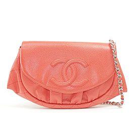 Chanel Half Moon Chain Flap 9ck1204 Red Caviar Leather Cross Body Bag
