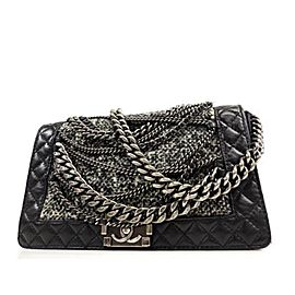 Chanel Handbag Boy Enchained Medium Chain Flap 234201 Black Leather X Tweed Shoulder Bag