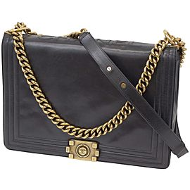Chanel Handbag Boy Gold Extra Large Jumbo Large 236460 Black Leather Shoulder Bag