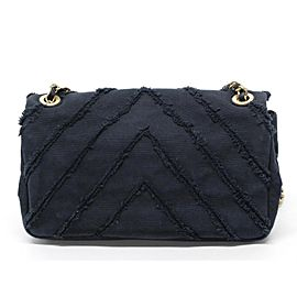 Chanel Handbag Chevron Medium Classic Chain Flap Cruise Gold Limited 239714 Black Canvas Cross Body Bag