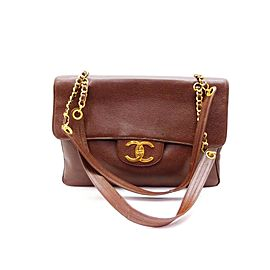Chanel Handbag Classic Flap Extra Large Weekender Maxi 237497 Brown Caviar Leather Shoulder Bag