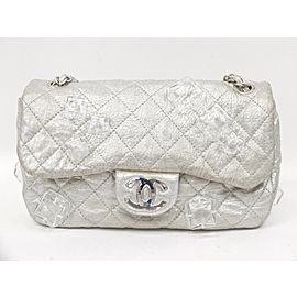 Chanel Handbag Classic Flap Ice Cub Limited Quilted 236458 Silver Leather Shoulder Bag