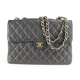 Chanel Handbag Classic Flap Jumbo Gold Hardware 20ck1207 Black Caviar Leather Shoulder Bag