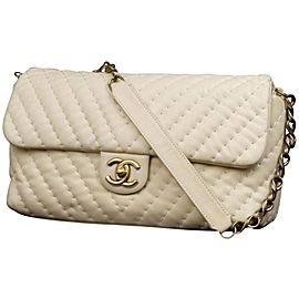 Chanel Iridescent Quilted Turnlock Flap C234044 Beige Leather Shoulder Bag