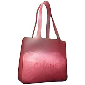 Chanel Jelly Clear Translucent 239716 Pink-red Rubber Tote