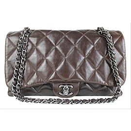 Chanel Jumbo Flap Quilted Lambskin Classic Silver Shw 2ccdg8917 Brown Leather Shoulder Bag