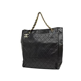 Chanel Jumbo Quilted Chain Tote Lambskin 224935 Black Leather Shoulder Bag