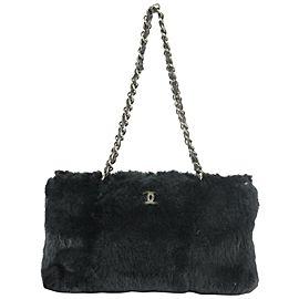 Chanel Lapin Rabbit Cc Chain 13ck1216 Black Fur Tote