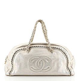 Chanel Large Luxe Ligne Bowler Chain Around Boston 25ck1220 Gold Metallic Leather Shoulder Bag