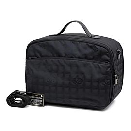 Chanel Line Luggage 2way Suitcase with Strap 234441 Black Nylon Weekend/Travel Bag